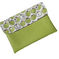 Vegan leather clutch with green apples, applegreen ipad case, macbook cover 11""