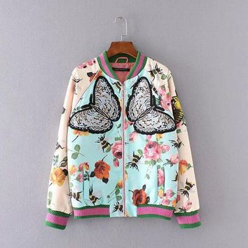 VLX2WL Hot Deal On Sale Sports Print Embroidery Butterfly Floral Jacket Tops Baseball [8542247751]