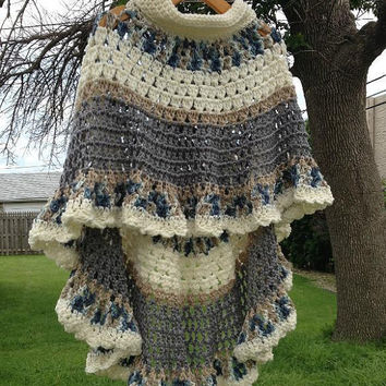 Circular Asymmetric Long Poncho Shawl Crochet Pattern PDF File Avant Garde Unbalanced Design Not a finished product It is a PDF Pattern