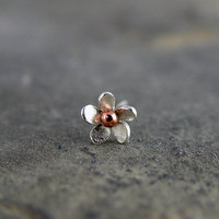 Tragus Plumeria Flower Earring 5-6mm - Sterling silver and Bronze, Cartilage Earring, Hawaiian frangipani,