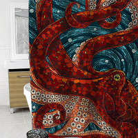 mosaic octopus Custom Shower Curtain Funny Shower Curtain size 36x72,48x72,60x72,66x72