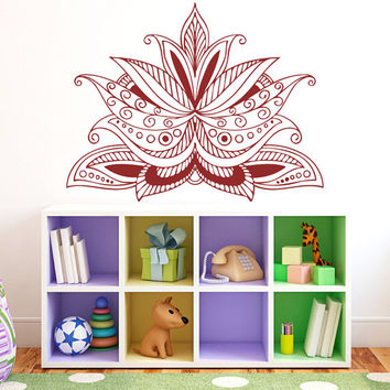 Henna Flower Vinyl Decals Wall Sticker Art Design Kids Children Nursery Room Nice Picture Home Decor Interior ki766