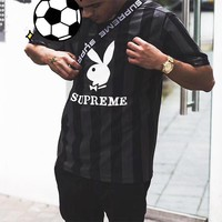 Supreme 18ss Playboy Soccer Jersey  Stripe Blue White Black Lapel Tee Shirt B-MG-FSSH Black