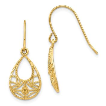 14k Yellow Gold Diamond-cut Dangle Earrings