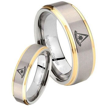 His Hers Step Edge Flat Christian Cross 14K Gold 2 Tone Tungsten Wedding Rings Set