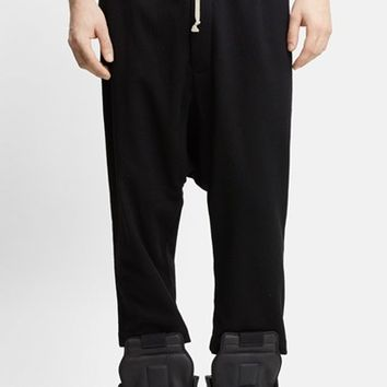 Men's Rick Owens Drawstring Wool Blend Pants,