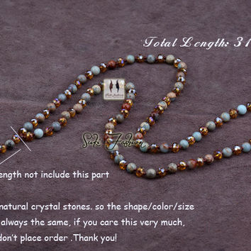 Exclusive Natural Jasper with Crystals and  Natural Quartz Pendant Y Necklace Luxury Handmade Bead Women Rosary Necklace