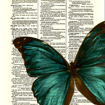 Butterfly Art Print, Blue Green Butterfly Dictionary Art Print, Wall Decor, Home Decor, Art Page