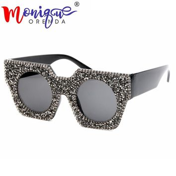 2018 Oversize Sunglasses Women Luxury Brand Designer Rhinestone Sunglasses men Vintage Shades for women
