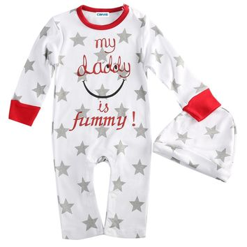 Baby Boys Girls Mum Dad Pattern Newborn Infant Toddler Kids Cotton Long Sleeve Romper Hat Outfits Clothes