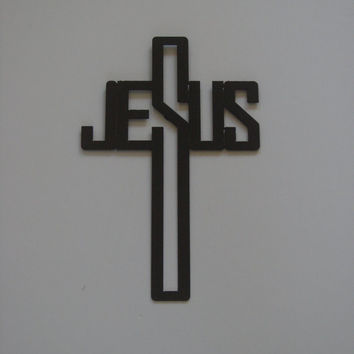 16 Gauge Steel Art Deco Jesus Name Cross Metal Wall Art