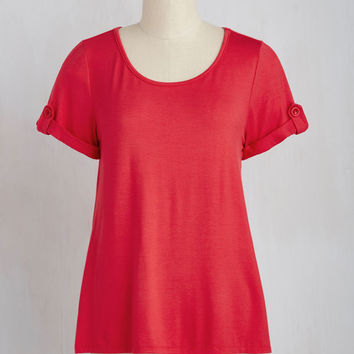 Downtime is of the Essence Top in Crimson | Mod Retro Vintage Short Sleeve Shirts | ModCloth.com