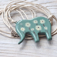 FREE SHIPPING! Handpainted pendant, elephant, made to ORDER, Mint, Beige, Brown, White, Boho, Flowers, Africa, Daisies, Elephant jewelry