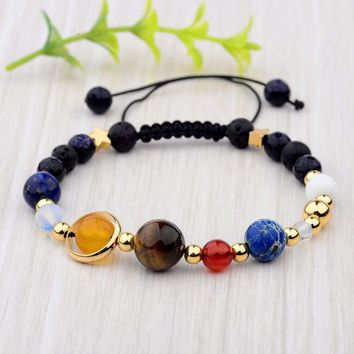 Hot Universe Solar System Galaxy Eight Planets Stone Beads Braided Bracelet Gift