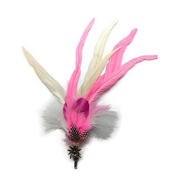 Deluxe German themed Hat Pins with Pinsk & White Feathers