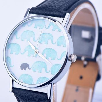 vintage leather elephant watch women dress quartz watches gift box  number 1