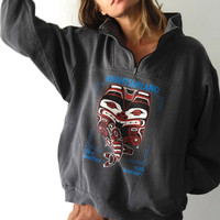 DEEP grey & blue ALASKA native american BEAR animal sweatshirt