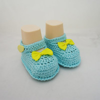 Crochet Baby Booties, Cute Baby Botties in Blue and Yellow, Booties with Bow, Sandals Botties