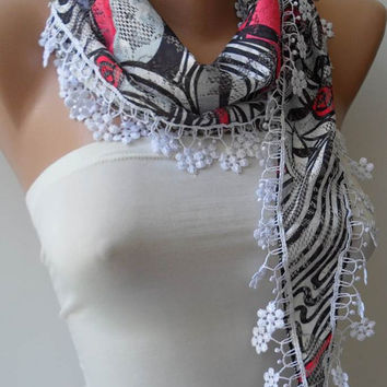 Perforated Fabric - Black - White and Pink Scarf with White Trim Edge - Summer Scarf