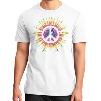 Tie Dye Peace Sign District T-Shirt (on man)