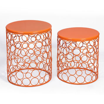 Home Garden Accents Circle Wired Round Iron Metal Nesting Stool Side End Table Plant Stand  SET OF 2