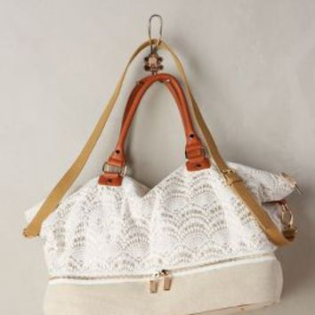 Fanned Lace Weekender by Deux Lux Ivory One Size Bags