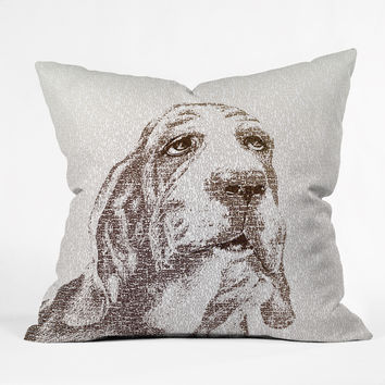 Belle13 Basset Hound Outdoor Throw Pillow