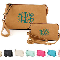 Personalized With Embroidery Vegan Synthetic Leather Tri Pocket Versatile 3 In One Wristlet, Clutch, and Crossbody Bag