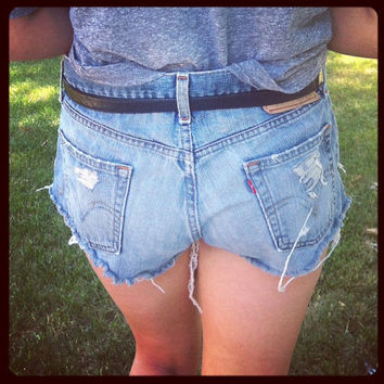 Levi destroyed denim shorts by LindsayLouVintage on Etsy