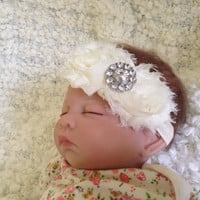 Ivory Newborn Girl Flower Headband, Baby Headband, newborn baby girl headbands photography props, Toronto, Canada