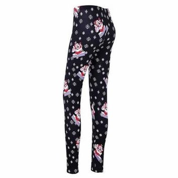 Christmas Snowflake Santa Claus Print Skinny Leggings - Black 2xl