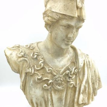 Athena Pallas Minerva Greek Roman Goddess Bust with Helmet Statue 20H
