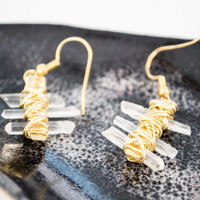 Unique Crystals Wire Wrapped on Brass Earrings