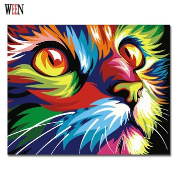 Colorful Cat Abstract Diy Digital Painting By Numbers Modern Animals Wall Art Picture For Home Wall Artwork 2017
