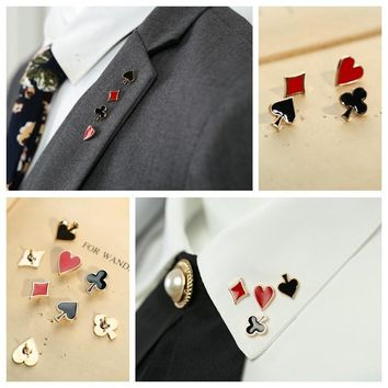 4 pcs 1 set Fashion badges Men Jewelry Boutonniere Poker Shaped Brooch Collar Pins for Women Heart Spade Club Funny Brooches