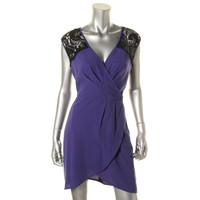 Bar III Womens Lace Trim Pleated Cocktail Dress