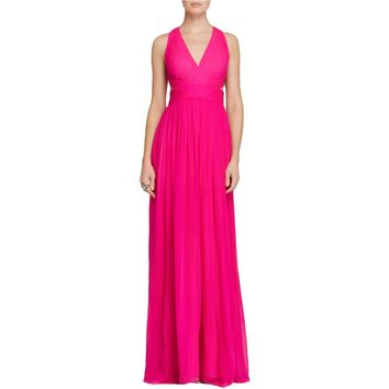 Aidan Mattox Womens Chiffon Halter Formal Dress