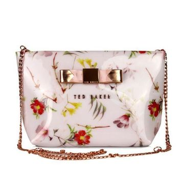 CREYV9O Ted Baker Women Shopping Leather Metal Chain Crossbody Satchel Shoulder Bag
