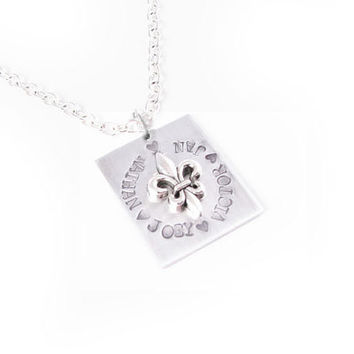 Square Fleur De Lis Personalized Hand Stamped Necklace