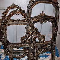 Vintage frame grouping dark black bronze distressed with coppery brown made by Anita Spero