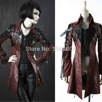 Punk Rave Goth Womens Man-made Leather Rock studded  Cotton Jacket Coat Streampunk HoodieLot S-3XL