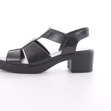 90s Black Fisherman Sandals Chunky Platform Heel Vegan Leather Hipster Goth Footwear Womens Size US 9 UK 7 EUR 40