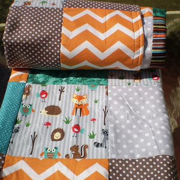 Baby blanket,patchwork baby blanket,baby boy bedding,baby girl quilt,woodland,rustic,teal,grey,orange,brown,fox,owl,dots,chevron quilt,quilt