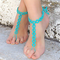Ethnic Style Handmade Hollow Out Lace Anklet Bracelet Crochet Barefoot Sandals Foot Jewelry Accessory Gift-11