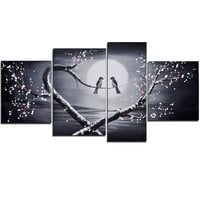 Love through a Birds Eyes Landscape Canvas Wall Art Oil Painting
