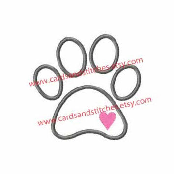Dog Paw Print Applique Machine Embroidery Design (dst, exp, hus, jef, pes, vip, xxx, & svg)