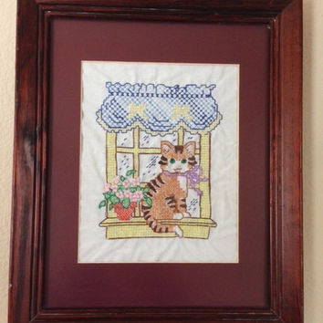 Cat Handmade Vintage Cross Stitch
