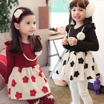 Baby Kids Girls One-Piece Gown Ball Princess Flower Dress Skirt + necklace  Z_G = 1958329156