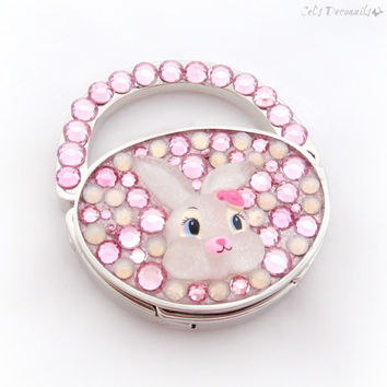 Cute bunny bag hanger, decoden purse hook, kawaii accessory, teen girl gift