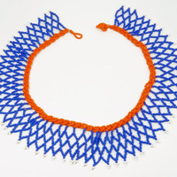 Vintage Native American Beaded Collar Necklace